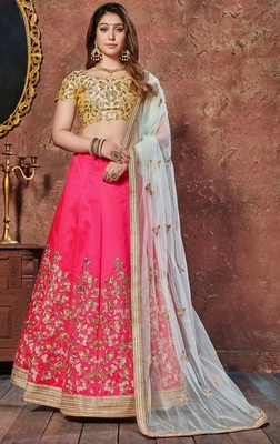 Engaging Pink Thread and Dori embroidered silk semi stitched lehenga for Party Wear