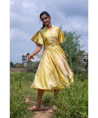 yellow woven art silk stitched dresses
