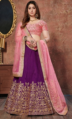 Pleasant Purple Sequins embroidered silk semi stitched Party Wear lehenga choli
