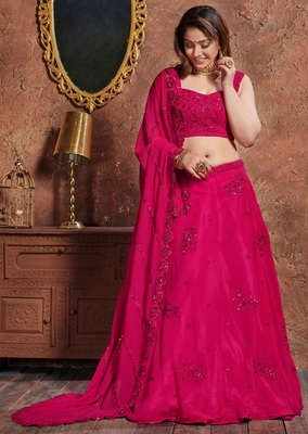 Eye Catching Pink Embroidered Georgette Semi Stitched bridal lehenga