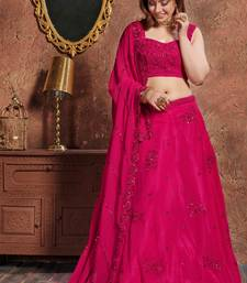 Eye Catching Pink Embroidered Georgette Semi Stitched Lehenga Choli For Party Wear