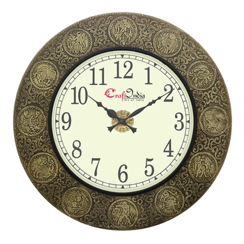 Analog Wooden Wall Clock with Metal Work with Zodiac Signs(Golden|18*18inch)