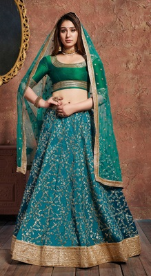 Soothing Turquoise embroidered art silk semi stitched lehenga for Party wear