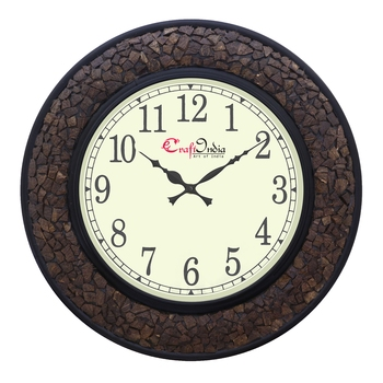 Analog Wooden Wall Clock with Wooden Blocks(Brown|18*18inch)