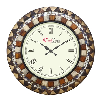 Analog Wooden Wall Clock with Wooden Blocks with Mosaic Glass work(Brown 18*18inch)