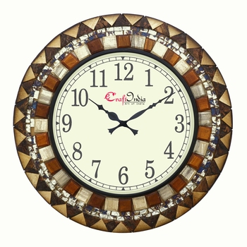 Analog Wooden Wall Clock with Wooden Blocks with Mosaic Glass work(Brown|18*18inch)