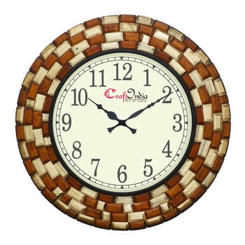 Analog Wooden Wall Clock with Wooden blocks (Brown|18*18inch)