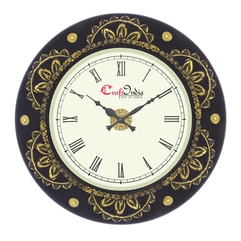 Analog Wooden Wall Clock with Metal Cutting Work(Golden,Black 18*18inch)