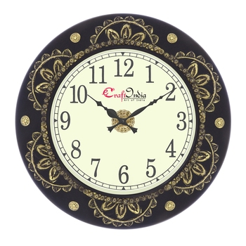 Analog Wooden Wall Clock with Metal Cutting Work(Golden,Black|18*18inch)