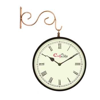 Metal Analog Round Dual Dial Hanging Station Wall Clock ( Copper, Black | Dial Size: 8 inch , size: 15*12 inch )