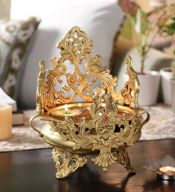 Brass Ethnic Peocock and Elephant Carving Design Brass Urli