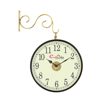 Metal Analog Round Dual Dial Hanging Station Wall Clock ( Brass | Dial Size: 8 inch , size: 15*12 inch )