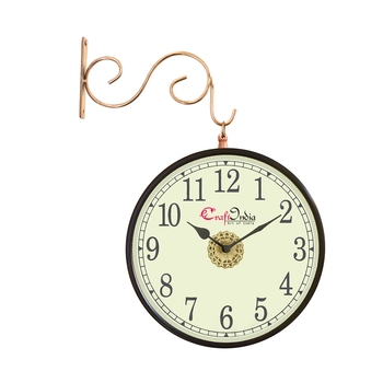 Metal Analog Round Dual Dial Hanging Station Wall Clock ( Copper   Dial Size: 8 inch , size: 15*12 inch )