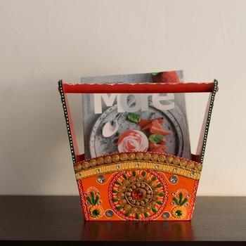 Papier-Mache Wooden Multiutility Basket