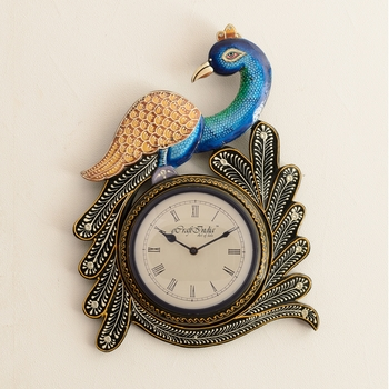 Decorative Peocock Design Antique Wooden Handcrafted Wall Clock