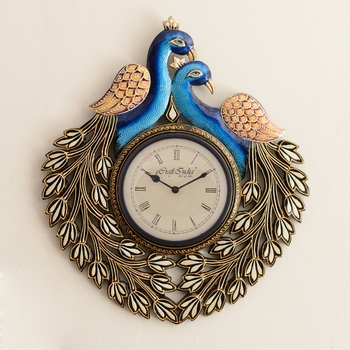 Decorative Twin Peococks Antique Wooden Handcrafted Wall Clock