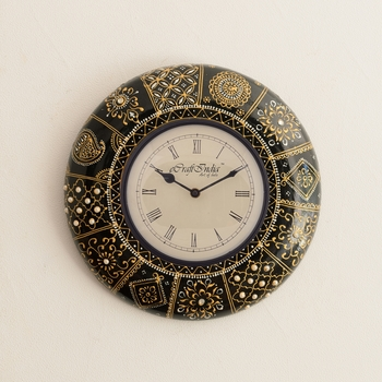 Decorative Floral Golden Art on Black Antique Wooden Handcrafted Wall Clock