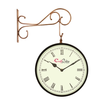 Metal Analog Round Dual Dial Hanging Station Wall Clock ( Copper, Black | Dial Size: 10 inch , size: 18*14 inch )