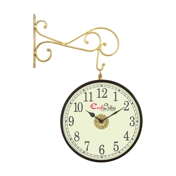 Metal Analog Round Dual Dial Hanging Station Wall Clock ( Brass | Dial Size: 10 inch , size: 18*14 inch )