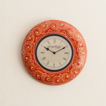 Colorful Floral Art on Red Antique Wooden Handcrafted Wall Clock