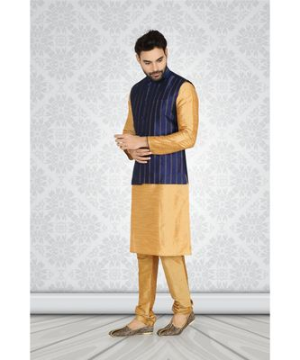 chickoo polysilk kurta set with blue jacquard jacket with metal buttons