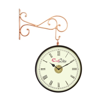 Metal Analog Round Dual Dial Hanging Station Wall Clock ( Copper | Dial Size: 10 inch , size: 18*14 inch )