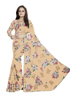Very Soft Orange Color Digital Printed Georgette Saree With Matching Blouse