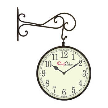 Metal Analog Round Dual Dial Hanging Station Wall Clock ( Black | Dial Size: 10 inch , size: 18*14 inch )