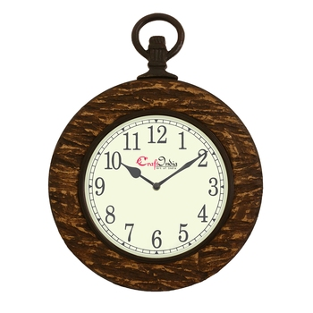 Wooden Analog Round Hook on the Top Wall Clock ( Brown | size: 15*12 inch )