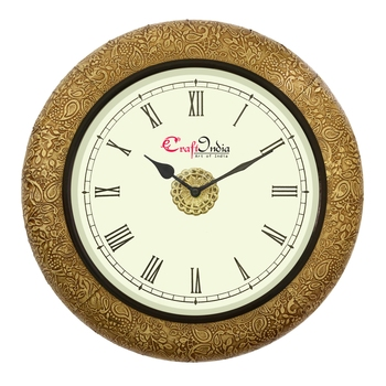 Wooden Analog Round Metal Carving Wall Clock ( Golden | size: 14*14 inch )