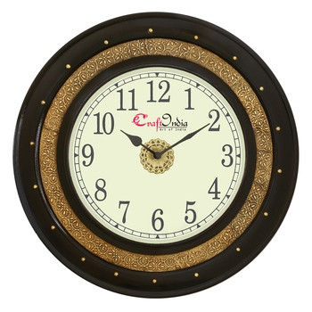 Wooden Analog Round Dual Color Wall Clock ( Golden, Black | size: 16*16 inch )