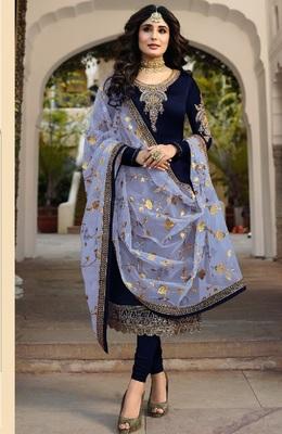 Royal-blue embroidered santoon salwar
