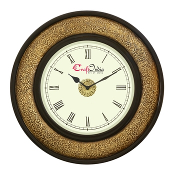 Wooden Analog Round Metal Carving Wall Clock ( Golden, Black | size: 16*16 inch )