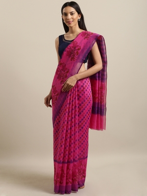 Magenta printed cotton saree with blouse