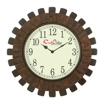 Wooden Analog Round Wooden Blocks Wall Clock ( Brown | size: 16*16 inch )