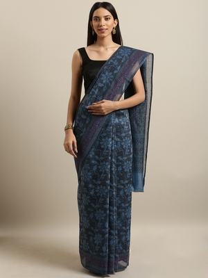 Grey printed cotton saree with blouse