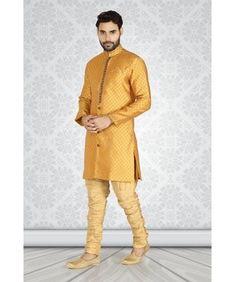 mustard  jacquard semi  indowestern with stylish  embroidery in the front  with embroidered buttons