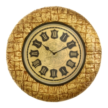 Wooden Analog Round Metal Dial Wall Clock ( Golden | size: 16*16 inch )