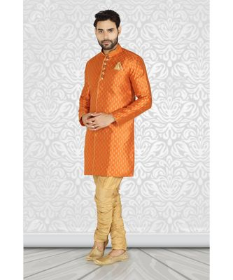mustard  jacquard semi  indowestern with embroidered buttons and collar