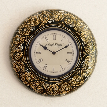 Embossed Floral Golden Art on Black Antique Wooden Handcrafted Wall Clock
