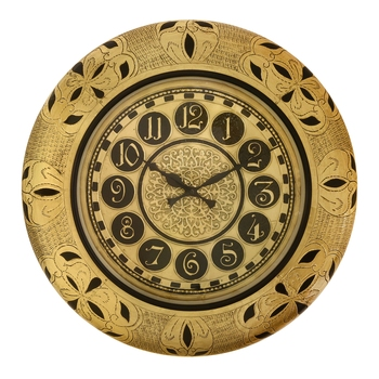 Wooden Analog Round Metal Dial Wall Clock ( Golden | size: 18*18 inch )