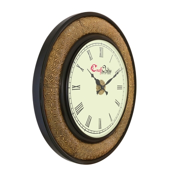 Wooden Analog Round Metal Carving Wall Clock ( Golden, Black | size: 18*18 inch )