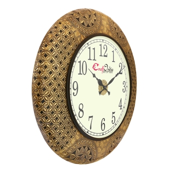 Wooden Analog Round Metal Carving Wall Clock ( Golden | size: 18*18 inch )