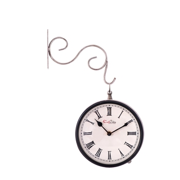 Handcrafted Antique & Vintage Station Wall Clock (Dual View - Dial Size 8 Inch) - Silver Color