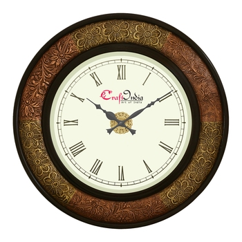 Wooden Analog Round Dual Color Metal Carving Frame Wall Clock ( Copper, Golden | size: 18*18 inch )
