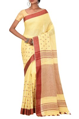 Yellow Woven Pure Bhagalpuri Linen Saree With Blouse