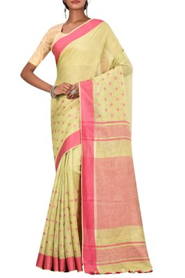 Light Green Woven Pure Bhagalpuri Linen Saree With Blouse