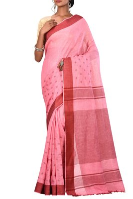 Pink Woven Pure Bhagalpuri Linen Saree With Blouse