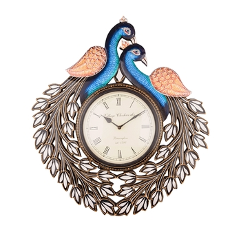 Peocock Shape Handcrafted Wooden Antique Wall Clock