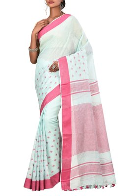 Light Blue Woven Pure Bhagalpuri Linen Saree With Blouse